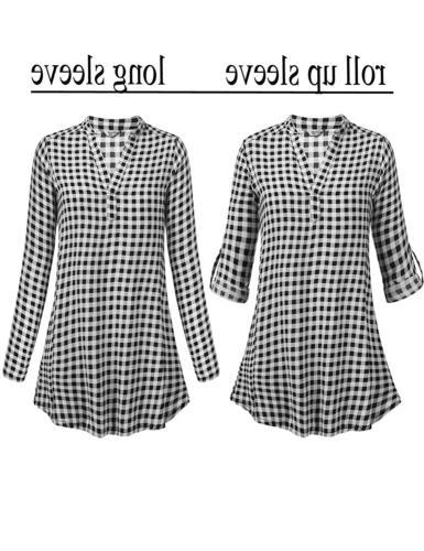 Zeagoo Women's Long Flannel Check Plaid Shirts Casual Boyfriend