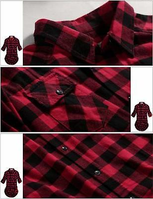 Match Women's Flannel Plaid Shirt 2021 Checks#1