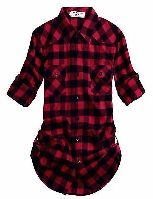 women s long sleeve flannel plaid shirt