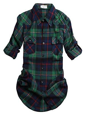 women s long sleeve plaid flannel shirt