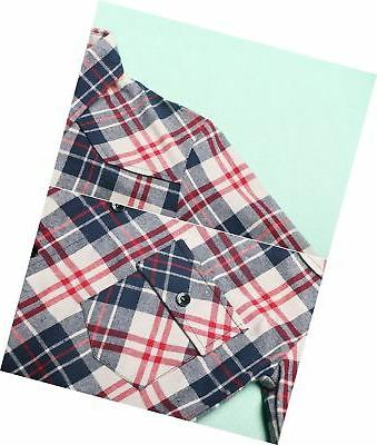 OCHENTA Mid-Long Roll-up Sleeve Plaid Flannel Shirt