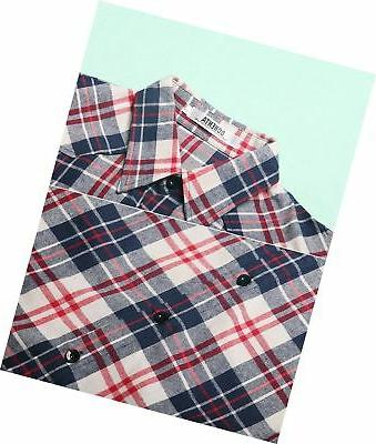 OCHENTA Roll-up Plaid Shirt
