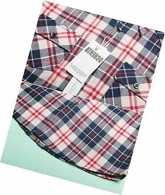 OCHENTA Mid-Long Roll-up Sleeve Flannel Shirt 2