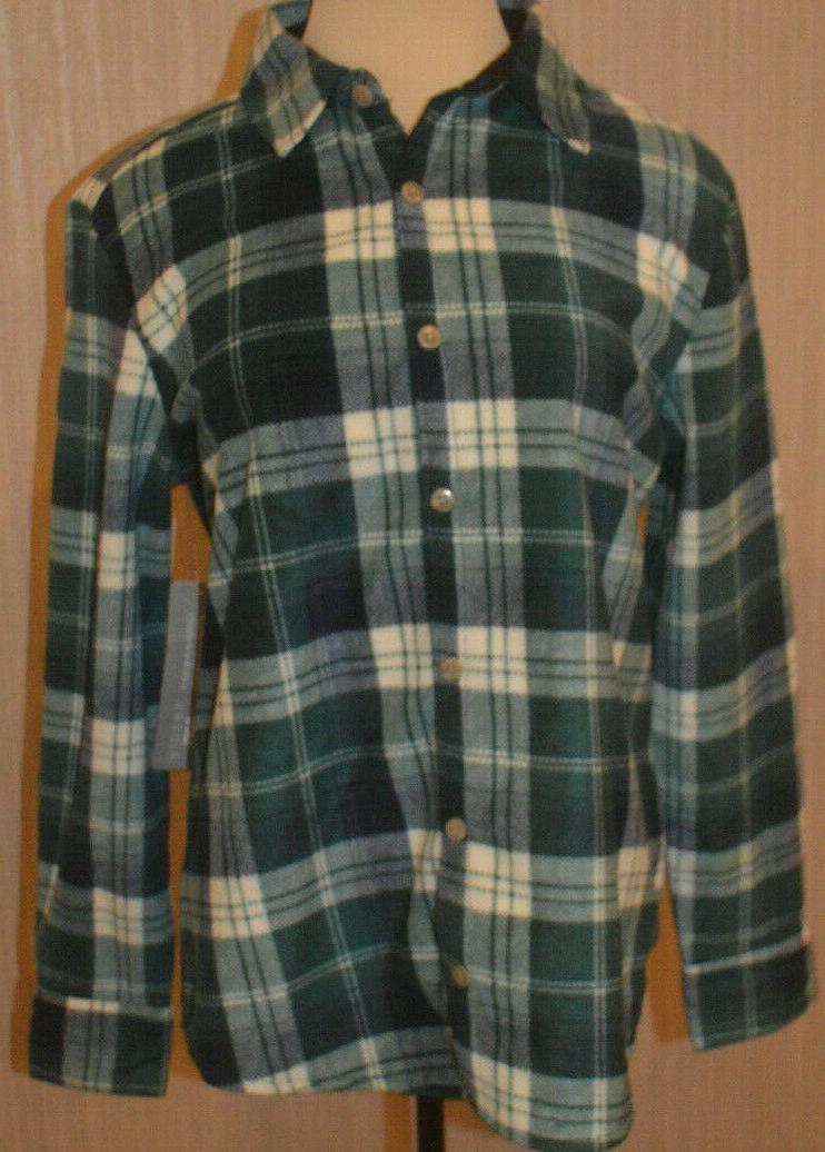 women s riders green plaid button front