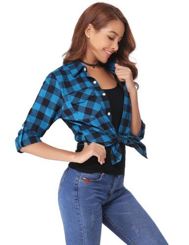 Abollria Women's Long Down Plaid Shirt