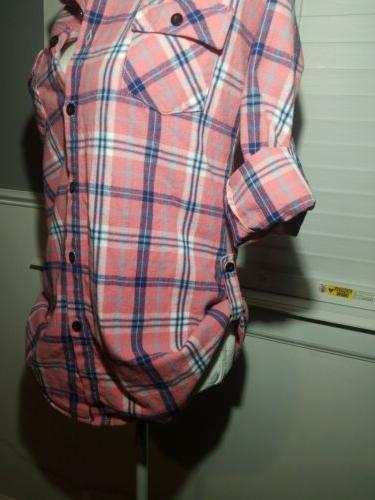 Ochenta Women's Flannel Plaid Button-Up Pink