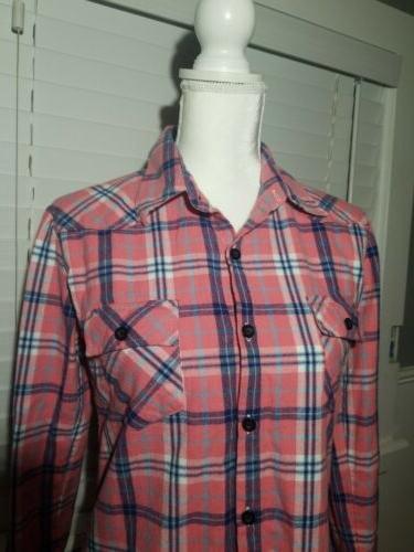 Ochenta Women's Sleeve Flannel Pink