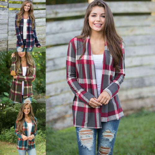 Womens Autumn Flannel Long Sleeve Shirts Loose Cardigan