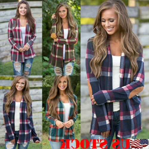 womens autumn flannel plaid long sleeve shirts