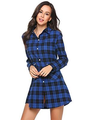 Ekouaer Cotton Nightgown Button Plaid Boyfriend