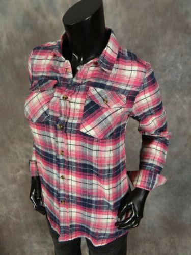 Womens Plaid Button Colors Choose From!