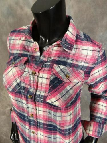 Womens FLANNEL Plaid Casual Button Front Shirt Colors