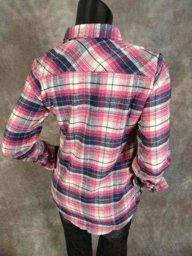 Womens FLANNEL Plaid Casual Button Front Shirt Colors To From!
