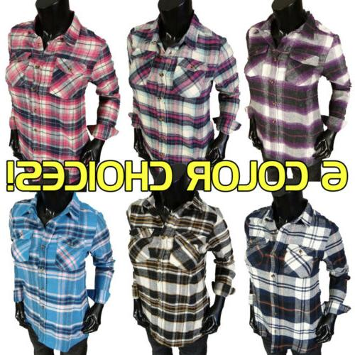 womens flannel plaid casual button front shirt