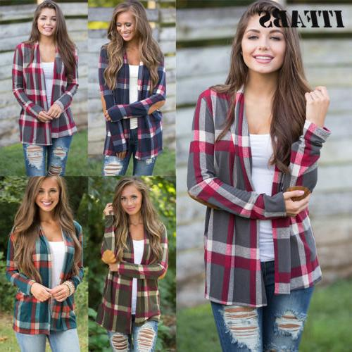 Womens Flannel Sleeve Shirts Cardigan Tops