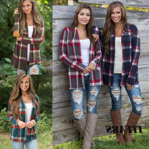 Womens Plaid Sleeve Casual Loose Cardigan Blouse Tops