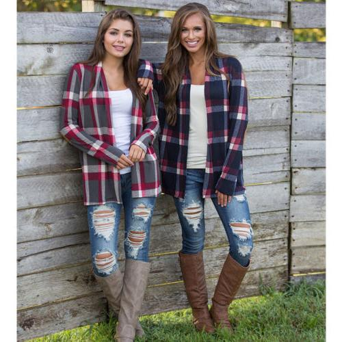 Womens Plaid Sleeve Casual Cardigan Blouse Jacket