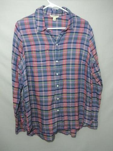 Lucky Brand Womens large flannel plaid shirt  button down tu