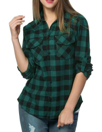 womens long sleeve collared button down plaid