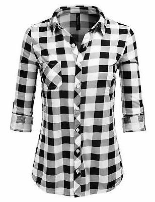 JJ Perfection Sleeve Collared Plaid Flannel