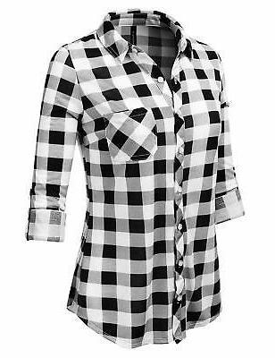 JJ Sleeve Collared Plaid Flannel