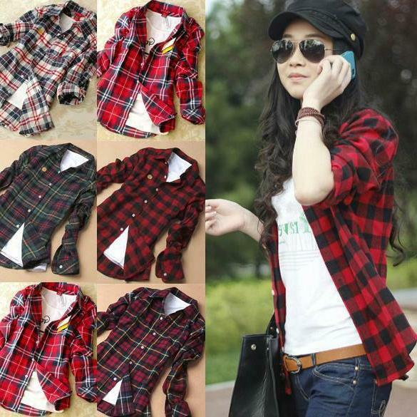 Women Casual Loose Flannel Plaid Shirt Button Stand Collar T