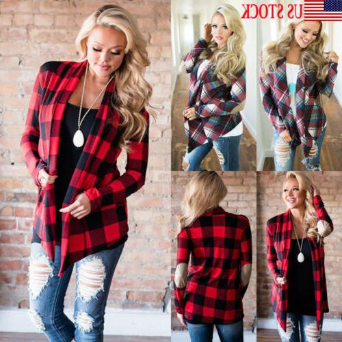 womens long sleeve flannel plaid shirts cardigan