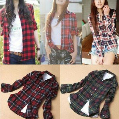 Womens &Checks Casual Down Shirt Flannel Tops