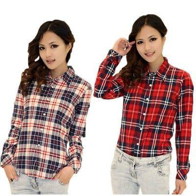 Womens Plaids Casual Shirt Tops