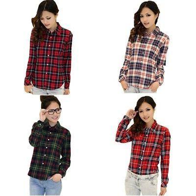 Womens Plaids Blouse Casual Shirt Shirts