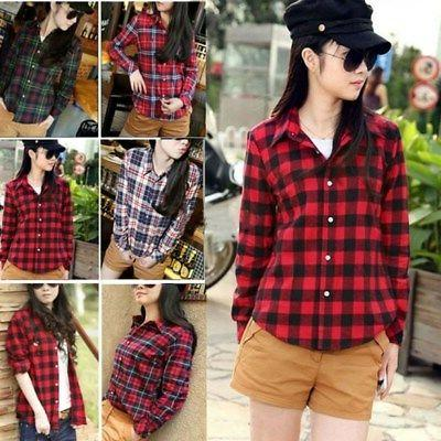womens plaids and checks blouse casual button