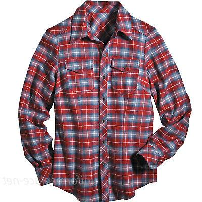 Womens Sleeve Plaid Front Cotton