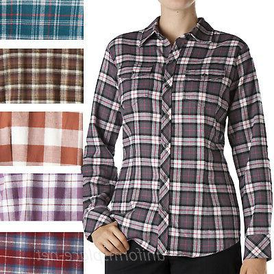 womens shirts long sleeve flannel plaid button
