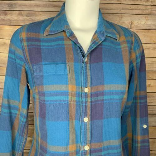 Lucky Brand Small Button Flannel Shirt Plaid Casual Top