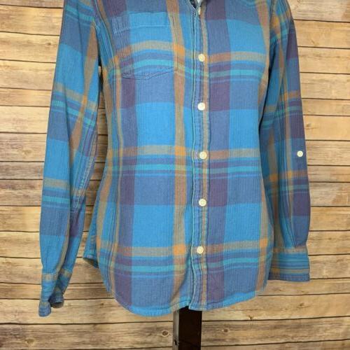 Lucky Brand Small Down Shirt Plaid Top