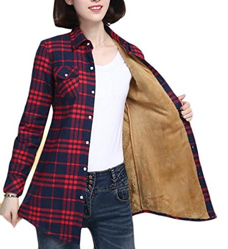 womens slim plaid fleece warm winter casual