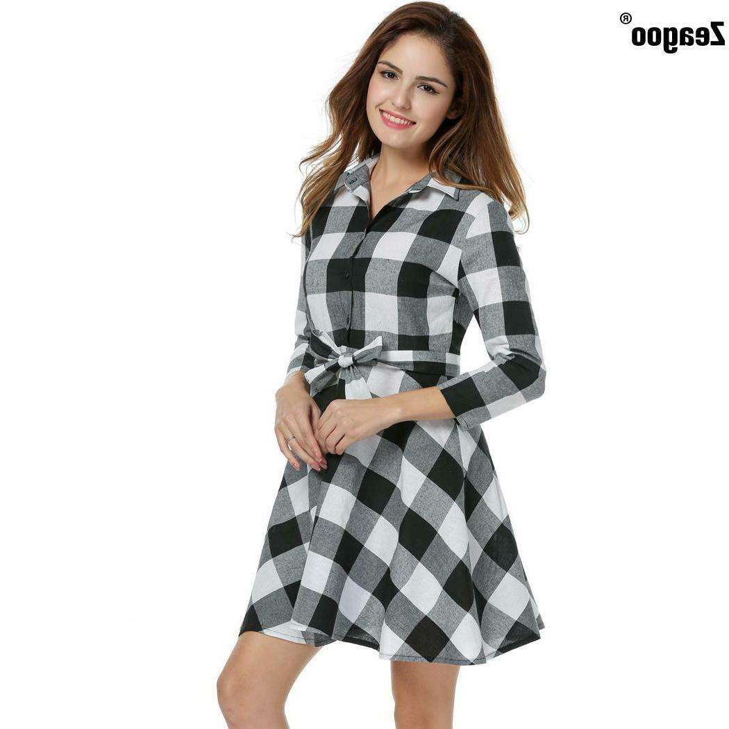 Zeagoo Womens Summer Plaid Flannel 3/4 Sleeve swing Shirt Dress With Belt