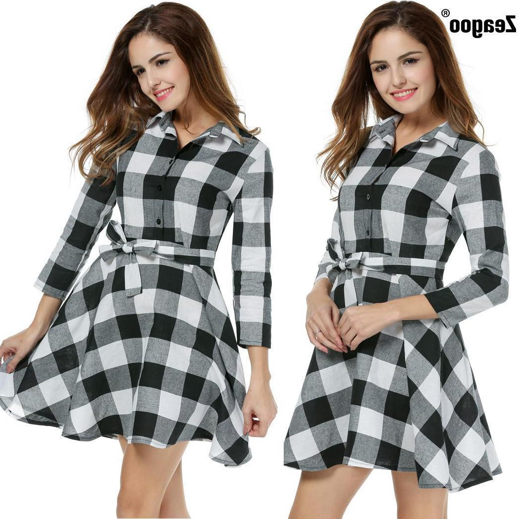 Zeagoo Plaid 3/4 Sleeve swing Shirt Dress With Belt