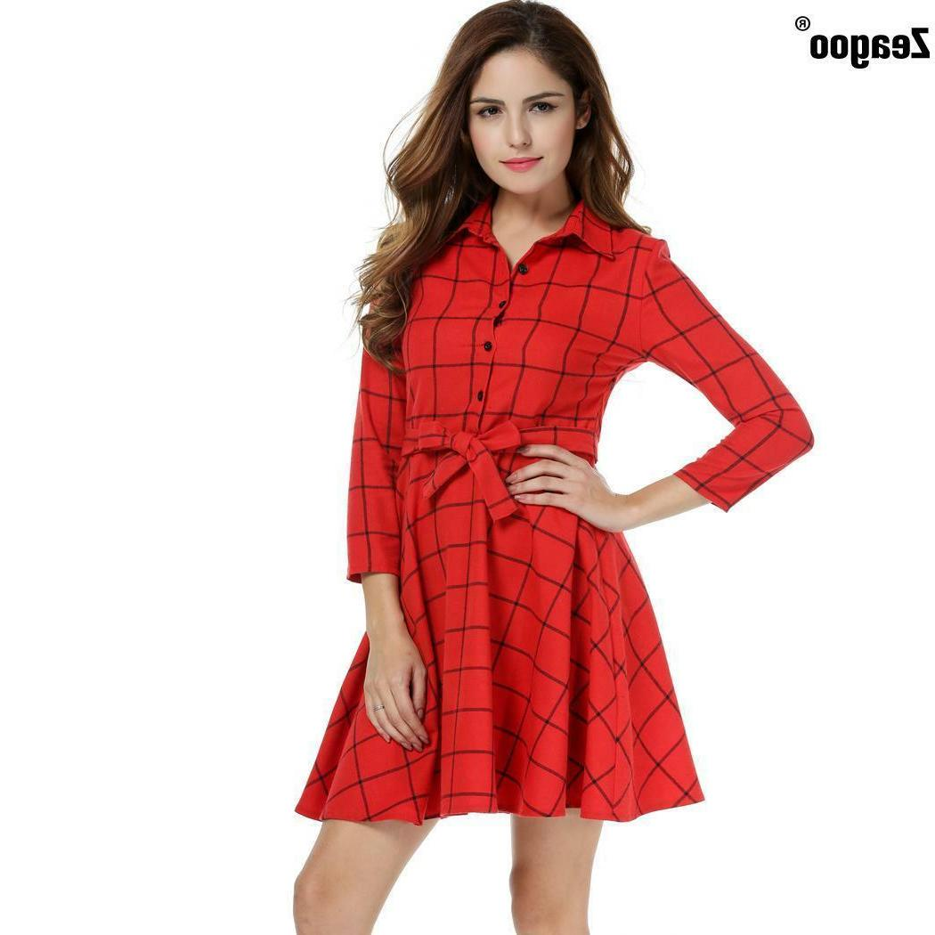 Zeagoo Casual Plaid swing Dress With Belt