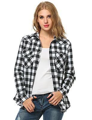 womens tartan plaid flannel shirts roll up