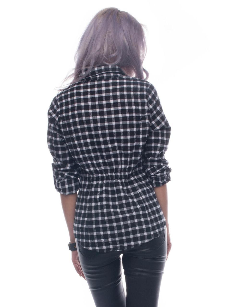 Womens Tops White Down Checkered Shirt