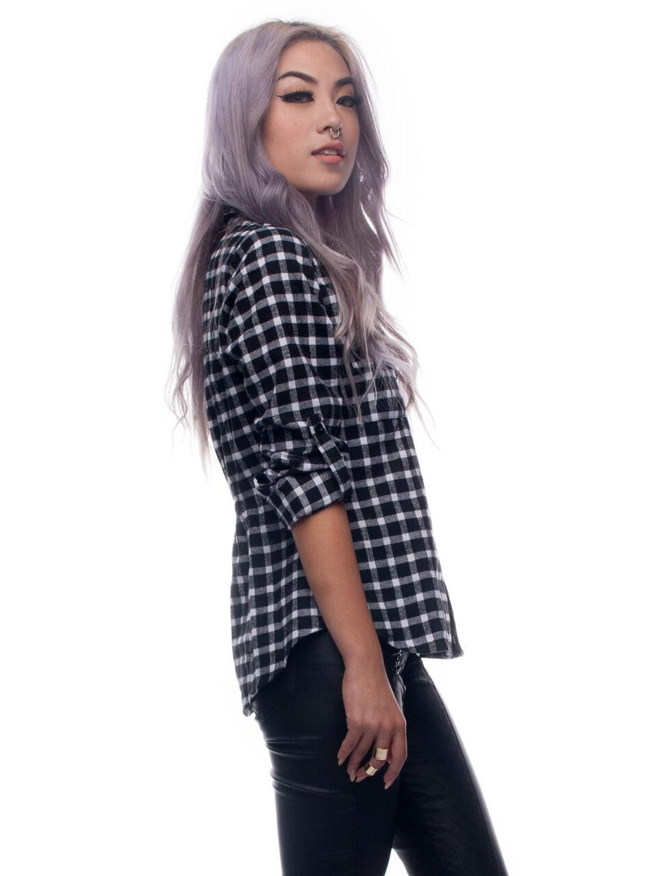 Womens Tops Black White Sleeve Button Down Checkered Flannel Plaid Shirt