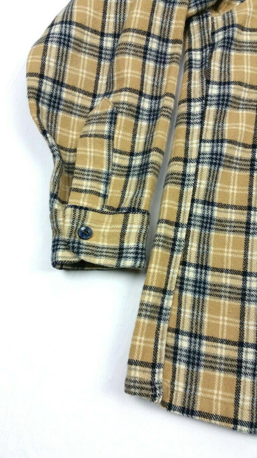 Pendleton Wool Flannel Tan Plaid Pocket Shirt