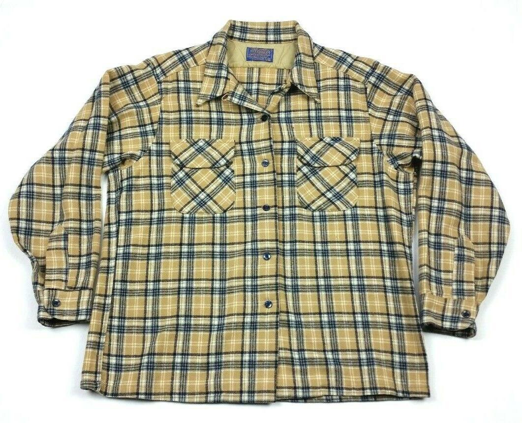 wool flannel tan plaid flap pocket loop