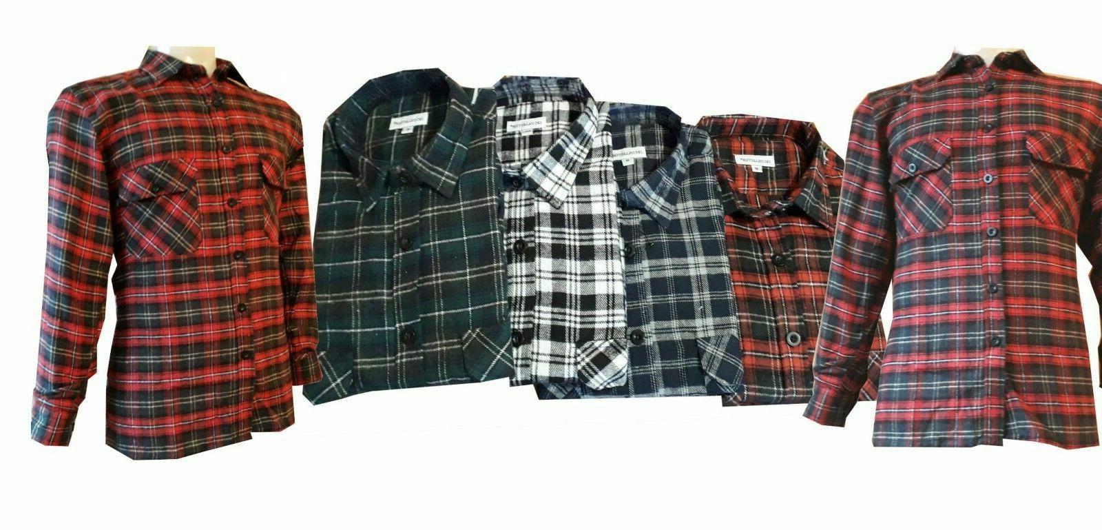 Work Cotton Shirt Check Lumberjack Gardening Walking