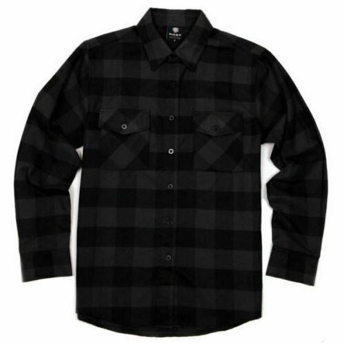 yago flannel long sleeve shirt black yg2508