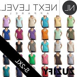 Next Level Apparel Ladies Junior Fit CVC Deep V-Neck T-Shirt