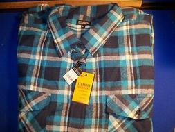 GIOBERTI Le Colezioni Size 5XL Italy Plaid Blue Flannel SHIR