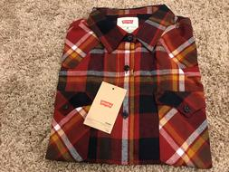 Levi's Longsleeve Button Front Flannel Shirt Red Plaid Mens