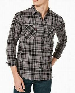Levi's Mens Shirt Gray Size Large L Plaid Print Dual Pocket